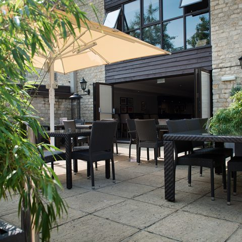 Outdoor patio area at Deacons bar